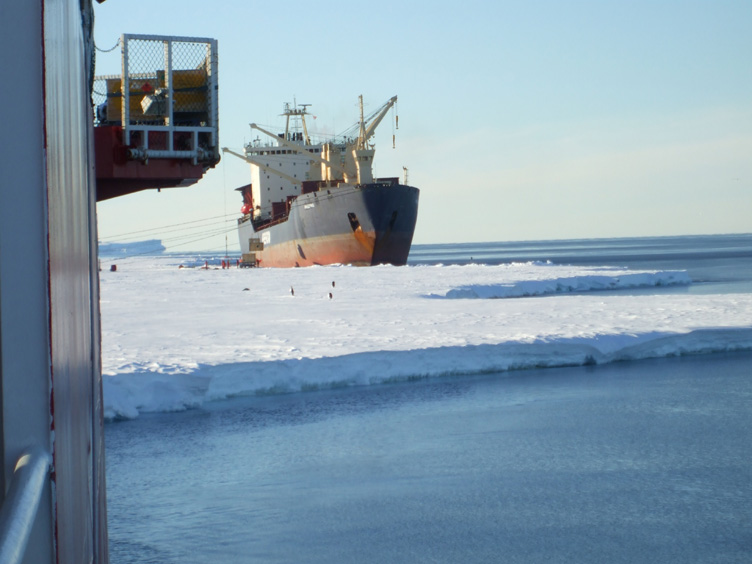 Amderma moored up by the ice