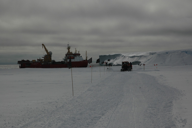 Driving up the ramp onto the ice shelf (on an overcast day)