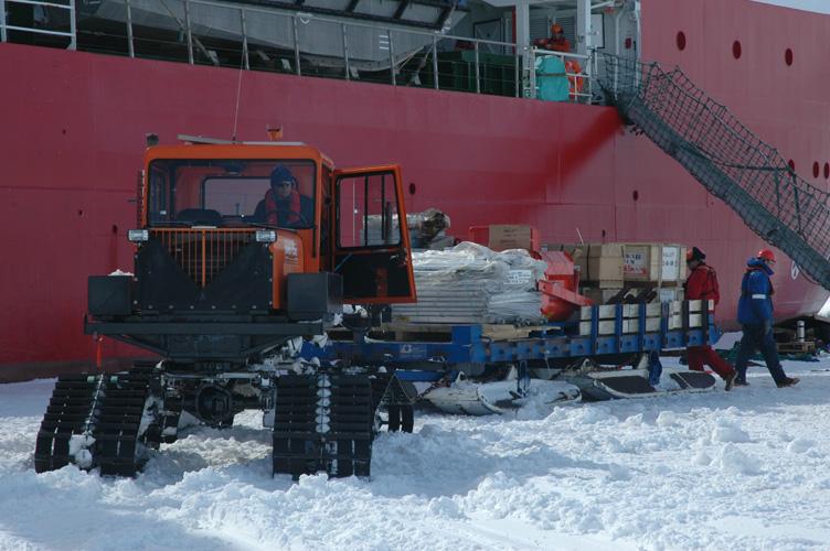Loading up a Sno-Cat alongside the Shackleton
