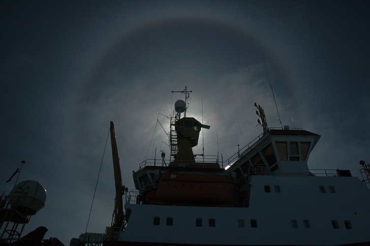 The bridge of the Shackleton with a solar halo behind