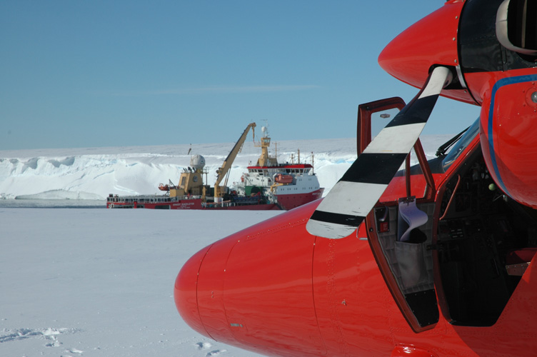 The nose of a Twin Otter with the Shackleton behind
