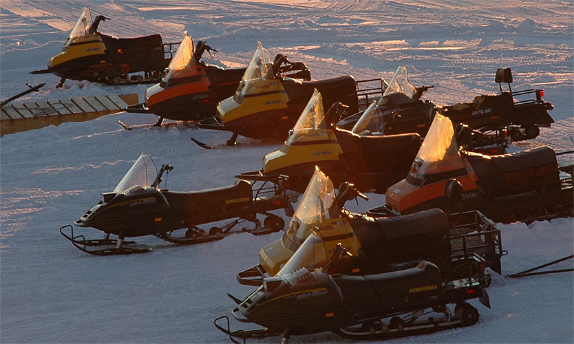 Skidoos parked up for the night