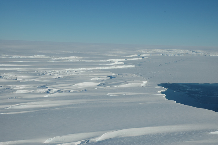 Ice shelf and sea meet at the continent's edge