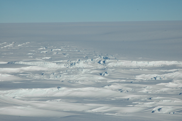 Glaciers pour down for a hundred miles