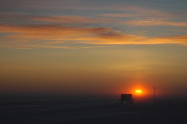 Sunrise behind the BART