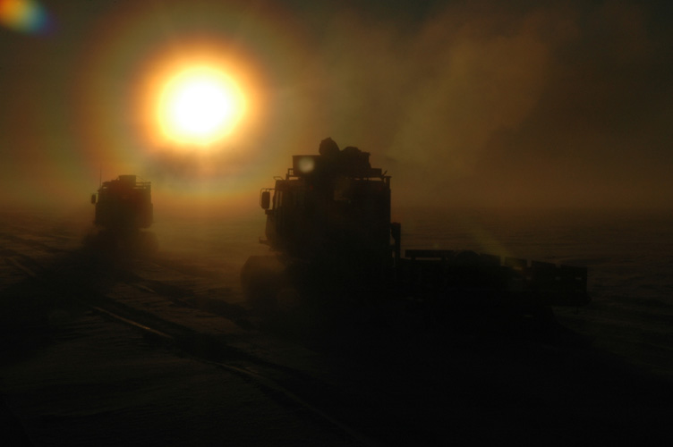 Rings around the sun as Sno-Cats return to Halley