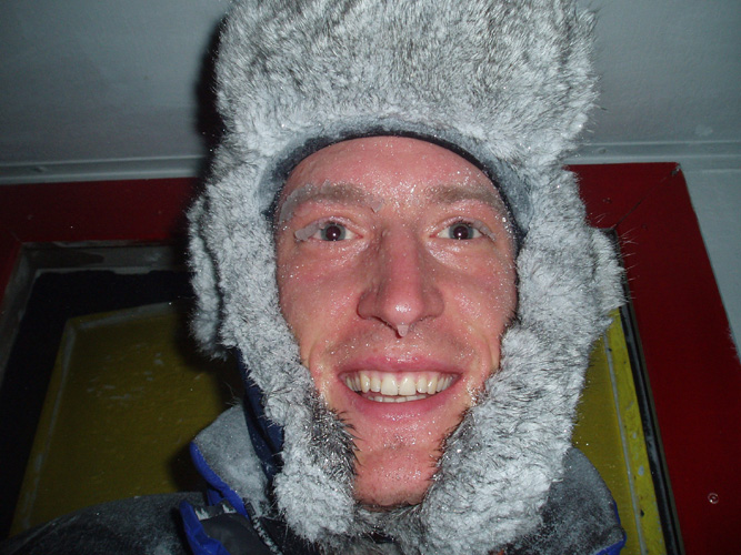 Iced up face after a brief trip outside at 50 knots