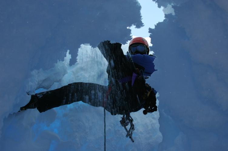 Descending into a crevasse
