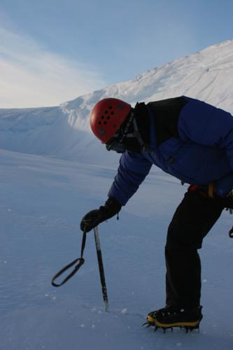 Probing for crevasses using an ice axe