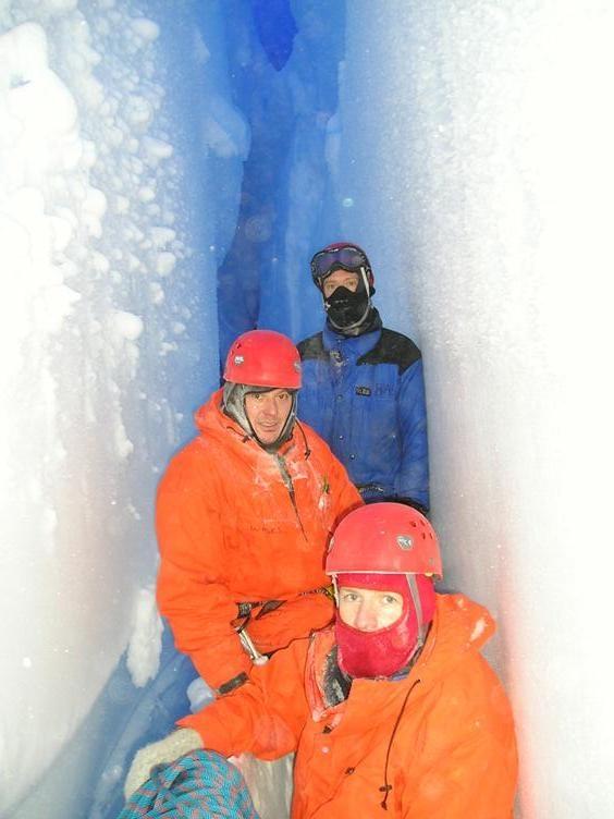 Alex, Mark and Bob in crevasse