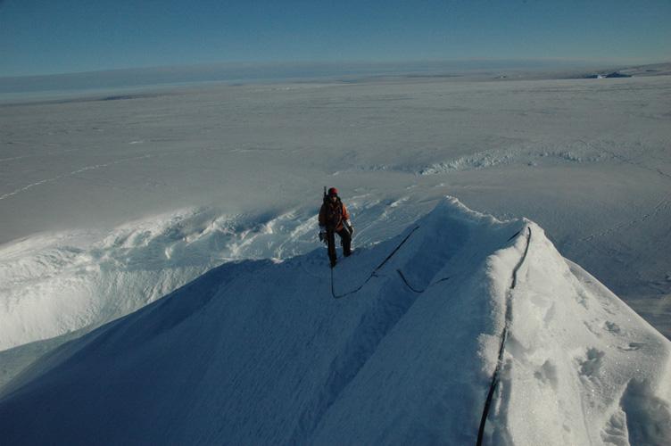 Climbing ice ridge
