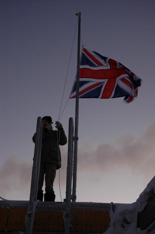 Jim raises the Union flag at sun up