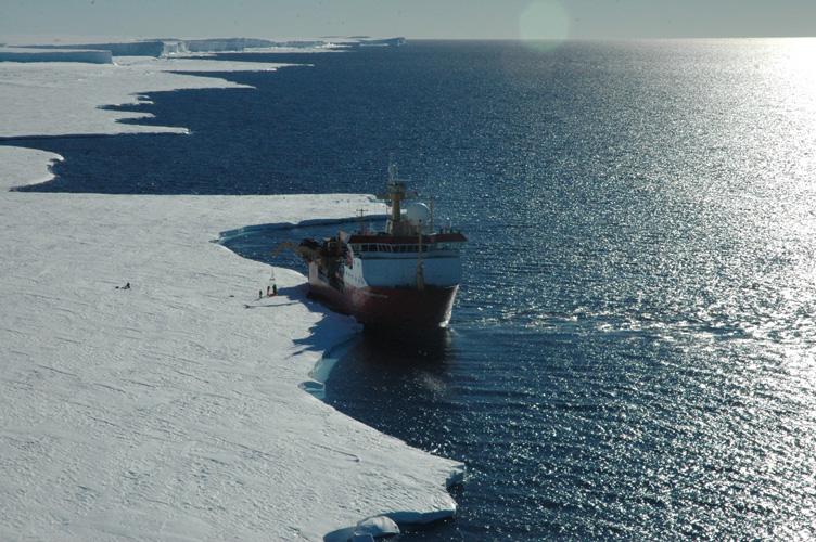 RRS Ernest Shackleton moors up at Halley