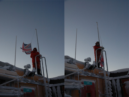 Pete lowers the Union flag for the darkness