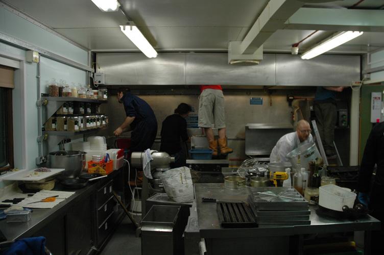 Scrubbing the kitchen