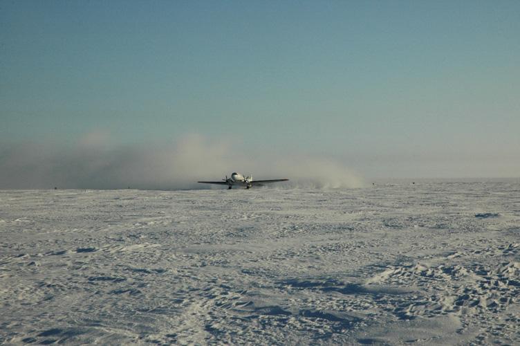 Basler (DC3) landing at Halley
